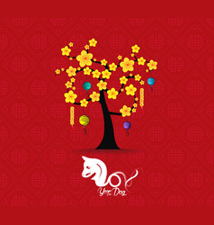 tree design for chinese new year celebration year vector image