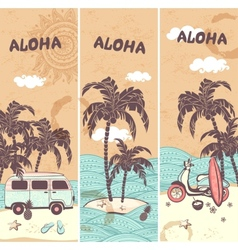 Vintage banners of the tropical island vector