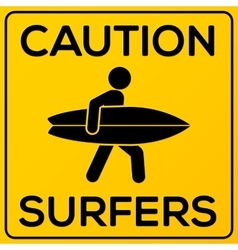 Yellow and black square caution sign with surfer vector image