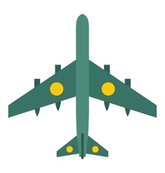 Military aircraft with missiles icon flat style vector