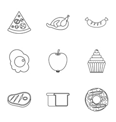 Breakfast icons set outline style vector