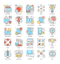 Flat color line icons 1 vector