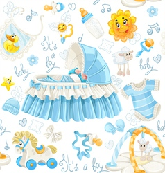 Seamless pattern of cribs toys and stuff its a boy vector image