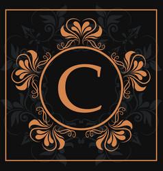 Florishes gold letter c calligraphic heraldic dark vector