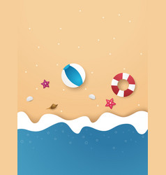 Summer time background on beach paper art style vector