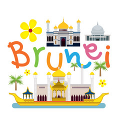 brunei travel and attraction vector image