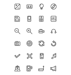 Media line icons 3 vector