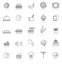 Food line icons with reflect on white vector