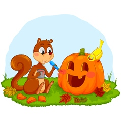 squirrel decorating pumpkin vector image