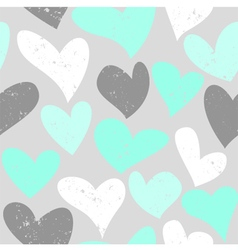 Mint green and grey cute hearts seamless pattern vector