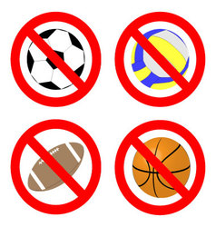 Ban game with ball icon set vector