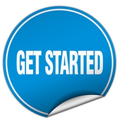 Get started round blue sticker isolated on white vector