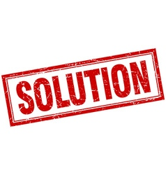 Solution red grunge square stamp on white vector