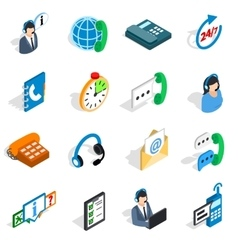 Call center icons set isometric 3d style vector
