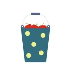Blue bucket of fruit vector