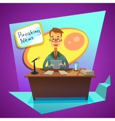 Breaking news cartoon vector image