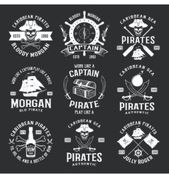 Caribbean pirates monochrome emblems vector