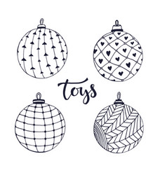 Christmas ball toys doodle isolated set for vector
