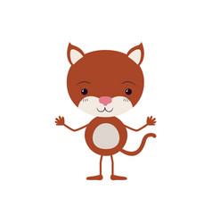 Colorful caricature of cute kitten happiness vector