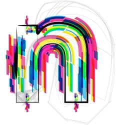 Colorful font - letter n vector