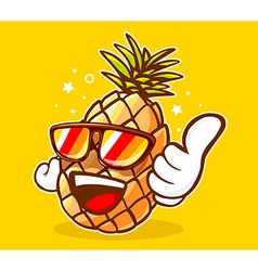 Colorful hipster pineapple with sunglasse vector