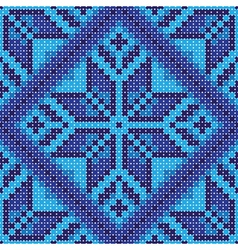 Cross stitch blue ornament vector