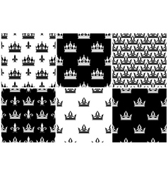 crowns seamless patterns set in black and vector image vector image