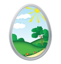 Easter egg and with floral elements vector