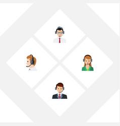 flat telemarketing set of help telemarketing vector image