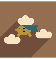 Flat with shadow icon piggy bank in the clouds vector image vector image