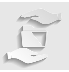 Folder sign Paper style icon vector image vector image