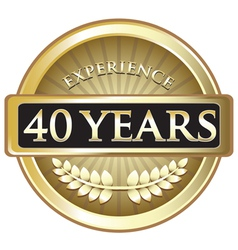 Forty Years Experience Gold vector image
