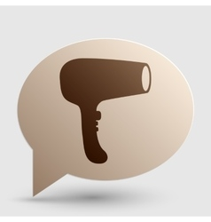 Hair dryer sign brown gradient icon on bubble vector