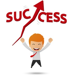 Happy businessman get success vector