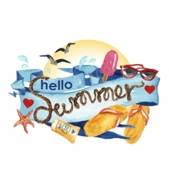 Hello summer - watercolor painting vector