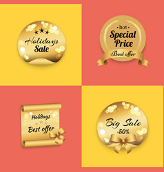 holidays best offer label on gold paper stamp set vector image