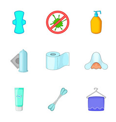 Hygiene items icons set cartoon style vector