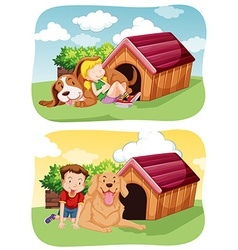 Kids with their pet dog in garden vector
