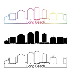 Long Beach V2 skyline linear style with rainbow vector image vector image
