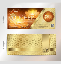 luxury golden and gift voucher for festival of vector image vector image