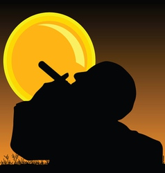 Man smoking cigarette and sun vector