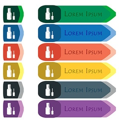 Nail polish bottle icon sign set of colorful vector