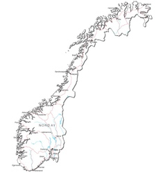 Norway black white map vector