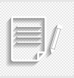 Paper and pencil sign white icon with vector