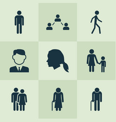 Person icons set collection of grandpa vector
