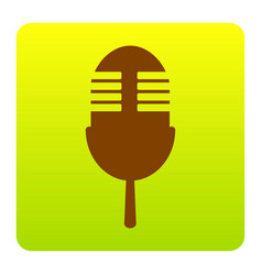 Retro microphone sign brown icon at green vector