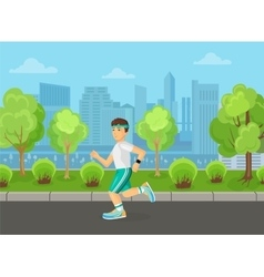 Runner men running on the street city park concept vector image