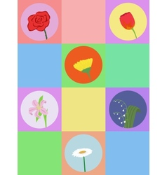 seamless cartoon flowers vector image