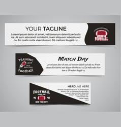 set of american football banner template with vector image