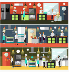 set of cook posters banners in flat style vector image